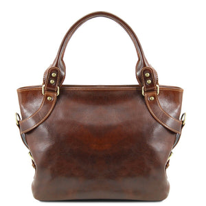 Front View Of The Brown Leather Shoulder Handbag