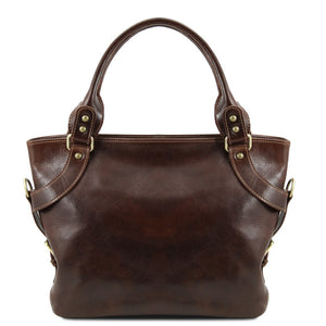 Front View Of The Dark Brown Leather Shoulder Handbag