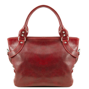 Front View Of The Red Leather Shoulder Handbag