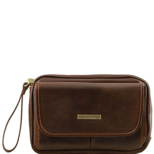 Front View Of The Dark Brown Mens Wrist Bag