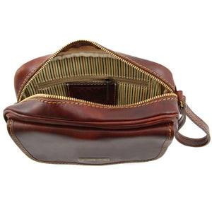 Internal View Of The Brown Mens Wrist Bag