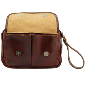 Front Open Flap View Of The Brown Mens Wrist Bag