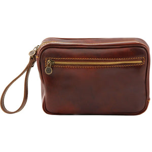 Rear View Of The Brown Mens Wrist Bag