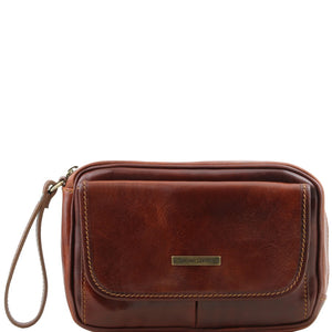 Front View Of The Brown Mens Wrist Bag