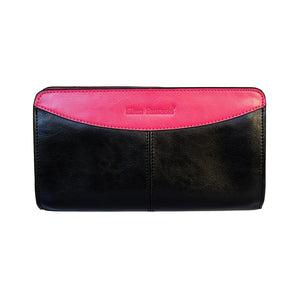 Front View Of The Black And Pink Jen Womens Leather Purse