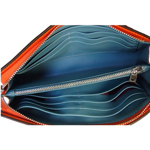 Internal View Of The Teal And Orange Jen Womens Leather Purse