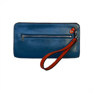 Rear View Of The Teal And Orange Jen Womens Leather Purse