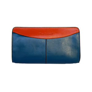 Front View Of The Teal And Orange Jen Womens Leather Purse