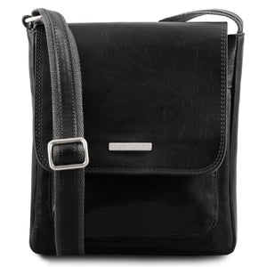 Front View Of The Black Mens Crossbody Bag Leather