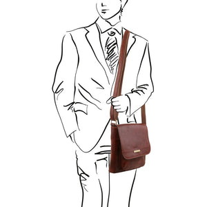 Man Posing With The Brown Jimmy Mens Crossbody Bag Leather