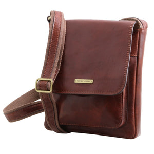 Angled View Of The Brown Jimmy Mens Crossbody Bag Leather