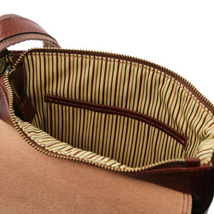 Internal Pocket View Of The Brown Mens Crossbody Bag Leather