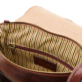 Internal Zipper Pocket View Of The Brown Mens Crossbody Bag Leather