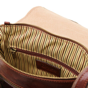 Internal Zipper Pocket View Of The Brown Jimmy Mens Crossbody Bag Leather