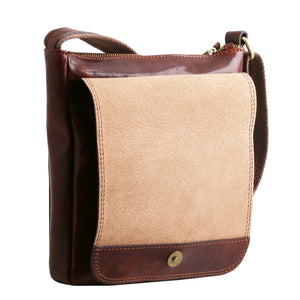 Angled Opening Flap View Of The Brown Jimmy Mens Crossbody Bag Leather