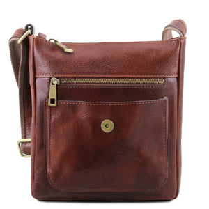 Front Pocket And Magnetic Closure View Of The Brown Jimmy Mens Crossbody Bag Leather