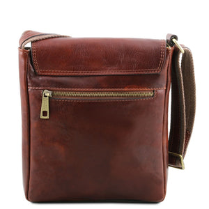 Rear View Of The Brown Mens Crossbody Bag Leather