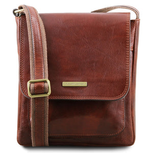 Front View Of The Brown Jimmy Mens Crossbody Bag Leather
