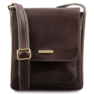 Front View Of The Dark Brown Mens Crossbody Bag Leather