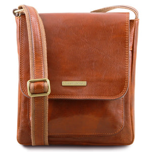 Front View Of The Honey Mens Crossbody Bag Leather