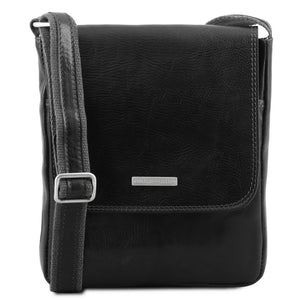 Front View Of The Black John Leather Crossbody Bag Mens