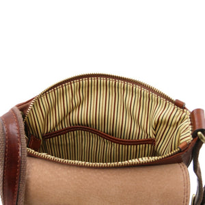 Internal Pockets View Of The Brown John Leather Crossbody Bag Mens