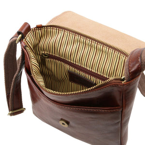 Internal Zipper Pocket View Of The Brown John Leather Crossbody Bag Mens