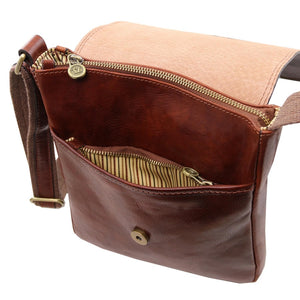Internal Front Pocket View Of The Brown John Leather Crossbody Bag Mens