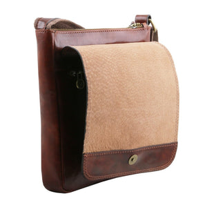 Opening And Closing Flap View Of The Brown John Leather Crossbody Bag Mens