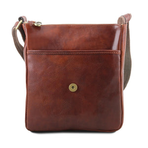 Front Pocket And Magnetic Closure View Of The Brown John Leather Crossbody Bag Mens