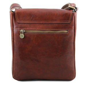 Rear View Of The Brown John Leather Crossbody Bag Mens