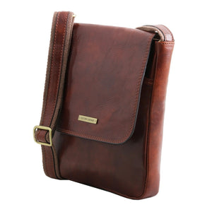 Angled View Of The Brown John Leather Crossbody Bag Mens