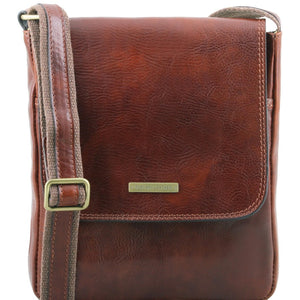 Front View Of The Brown John Leather Crossbody Bag Mens