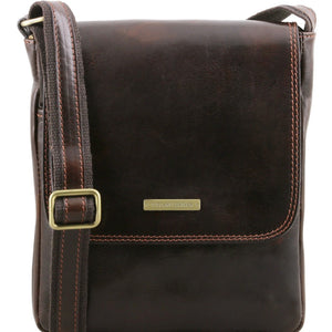 Front View Of The Dark Brown Leather Crossbody Bag Mens