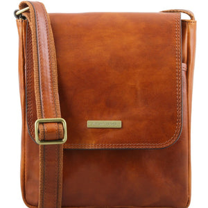 Front View Of The Honey Leather Crossbody Bag Mens