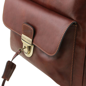 Key And Locking Mechanism View Of The Brown Stylish Laptop Backpack