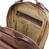 Internal Zip Pocket View Of The Brown Stylish Laptop Backpack