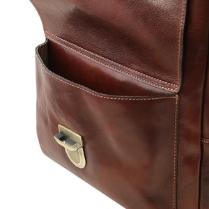 Angled Front Pocket View Of The Brown Stylish Laptop Backpack