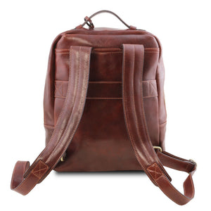 Rear And Shoulder Straps View Of The Brown Stylish Laptop Backpack
