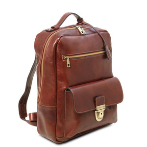 Angled View Of The Brown Stylish Laptop Backpack