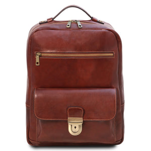 Front View Of The Brown Stylish Laptop Backpack