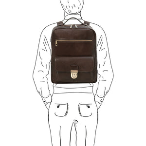 Man Posing With The Dark Brown Stylish Laptop Backpack
