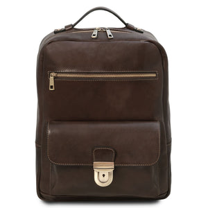 Front View Of The Dark Brown Stylish Laptop Backpack