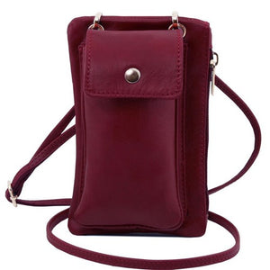 Front View Of The Bordeaux Cellphone Holder and Mini Crossbody Bag