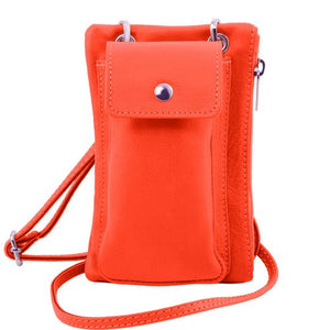 Front View Of The Coral Cellphone Holder and Mini Crossbody Bag