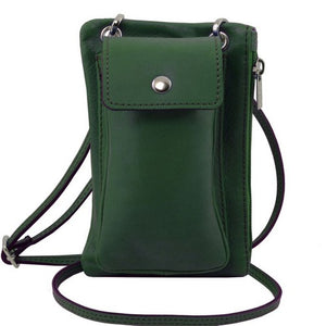 Front View Of The Dark Green Cellphone Holder and Mini Crossbody Bag