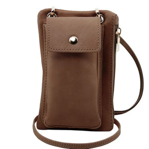 Front View Of The Dark Taupe Cellphone Holder and Mini Crossbody Bag