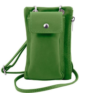 Front View Of The Green Cellphone Holder and Mini Crossbody Bag