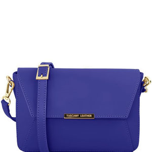 Front View Of The Blue Leather Clutch Handbag