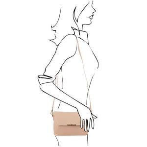 Women Posing With The Light Taupe Leather Clutch Handbag